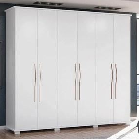 Guarda-roupa Isbi 100% MDF C/ 6 Portas Branco Fosco Liso