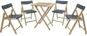 Conjunto de Cadeiras e Mesa de Madeira Tramontina Potenza Dobrável em Madeira Teca Verniz e Polipropileno Grafite 5 Peças