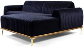 Sofá 3 Lugares com Chaise Base de Madeira Euro 245 cm Veludo Azul - Gran Belo