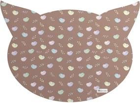 Tapete PET Mdecore Cabeça de Gato Pássaros Marrom 54x39cm