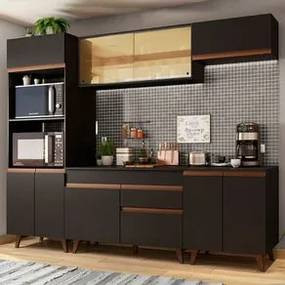 Cozinha Completa Madesa Reims 260002 com Armário e Balcão Preto Cor:Preto