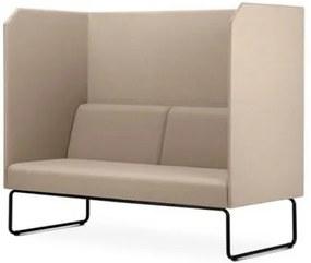 Sofa Privativo Pix com Divisoria e Assento Courino Bege Base Aco Preto - 55084 Sun House