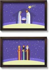 Presépio de Parede Quadro Natalino com Reis Magos - kit com 2 quadros