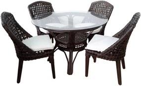 Conjunto de Mesa com 4 Poltronas Mônaco em Rattan Escuro