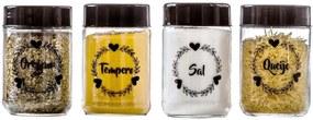 Conjunto de 4 Potes Vidro 500ml (Óregano/Tempero/Sal/Queijo) - Amare