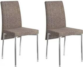 Kit 2 Cadeiras para Sala de Jantar 306 Cromado/Ocre - Carraro