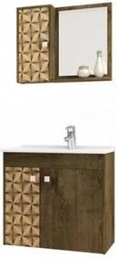 Conjunto Para Banheiro Munique Madeira Rústica com Madeira 3D – Bechara Móveis