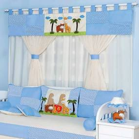 Cortina Quarto de Bebê Selva Baby Azul