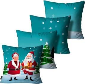 Kit com 4 Capas para Almofadas Premium Cetim Mdecore Natal Papai e Mamãe Noel Verde45x45cm