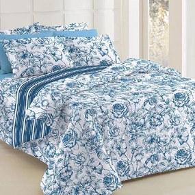 Jogo de Cama King Teka Diamante Juliete Listrado Azul Floral 4 Peças 150 Fios