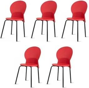 Kit 5 Cadeiras Luna Assento Vermelho Base Preta - 57708 Sun House