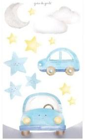 Adesivo Parede Estrela - Nuvem - Lua e Carrinhos G