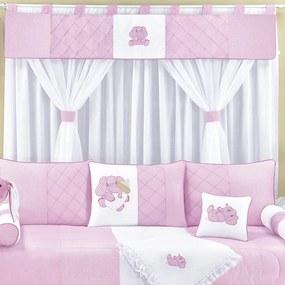 Cortina Quarto de Bebê Elefante Rosa
