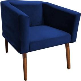 Poltrona Decorativa Juliane Pés Palito Suede Azul Marinho - Sheep Estofados - Azul escuro