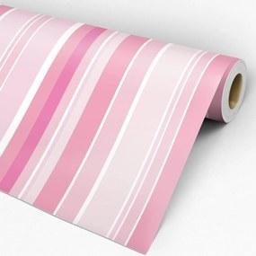 Papel de parede adesivo listrado rosa e branco