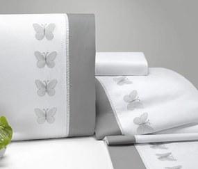 Roupa de Cama Casal Queen Papillons 180 Fios 04 Peças - Branco / Cinza