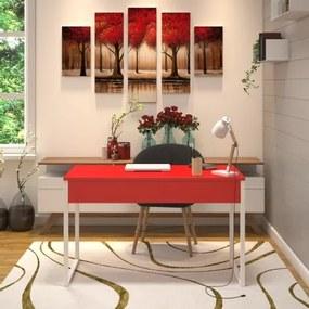 Mesa em Metal com tampo de Aço Colorido | Tam: 80x60cm |Cor: Vermelho e Branco