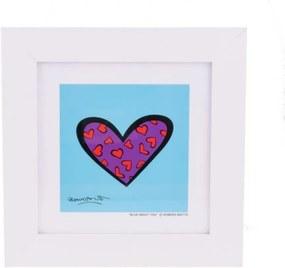 Quadro Romero Britto Blue About You - Madeira - 28cm x 28cm x 2cm