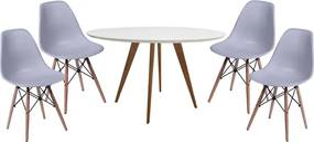 Conjunto Mesa Square Redonda Branco 88cm com 4 Cadeiras Eiffel - Cinza