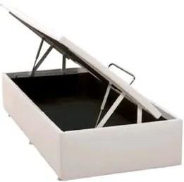 Base de Cama Box Bau Physical Corino Branco Solteiro 88 cm (LARG) - 52582 Sun House