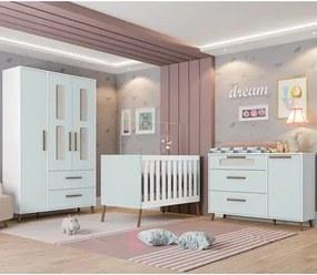 Quarto de Bebê Completo Retrô Bibi 4 Portas Branco/Azul - Móveis Estrela