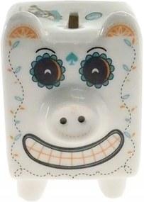 Cofre Personalizado Cerâmica Porco Mexicano Branco 14x10x11