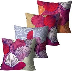 Kit com 4 Almofadas Mdecore Floral Coloridas 45x45cm Rosa
