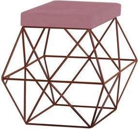 Puff Decorativo Sala de Estar Base Bronze Trixie Veludo Rosê - Gran Belo