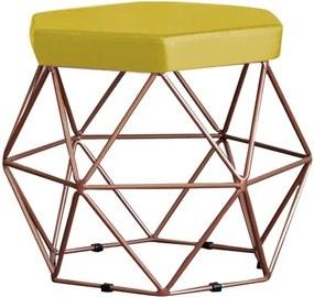Puff Decorativo Base Bronze Elsa Suede Amarelo - Gran Belo