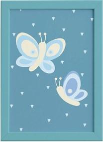 Quadro Coruja Baby Azul Borboletas Moldura Azul 22x32cm