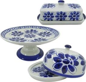 Kit para Café da Manhã em Porcelana Azul Colonial 3 peças