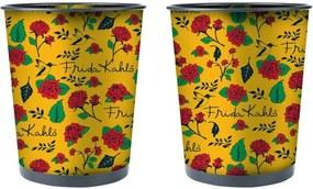 Lixeira Decorativa de Metal Amarela Frida Kahlo Urban