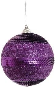 Bola de Natal Para Pendurar Árvore Natal 10 Cm Roxa 6 Peças