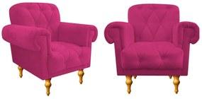 kit 02 Poltronas Decorativas Dani Suede Pink - ADJ Decor