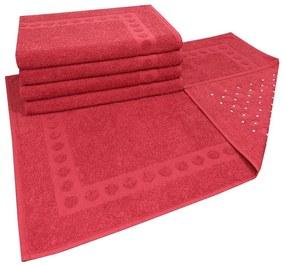 Jogo com 5 toalhas de piso com Antiderrapante Vermelha