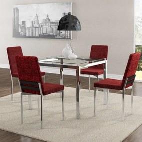 Mesa Quadrada de Vidro e 4 Cadeiras Estofada Carraro - Aço Cromado/Vermelho Floral