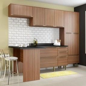 Cozinha Compacta Calábria com Bancada, Paneleiro e Balcão - Nogueira