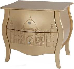 Cômoda Bombê Entalhada 2 Gavetas Abaulada Taj Mahal - Wood Prime FS 229069
