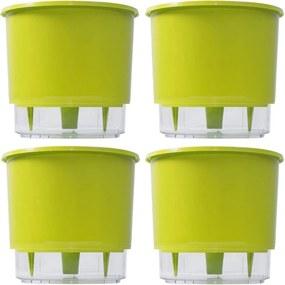 Jogo 4 Vasos Raiz Auto Irrigável Rainbow Verde Claro 12x11cm