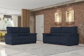 Conjunto De Sofá 3 E 2 Lugares Jandaia Espuma Soft Tecido Suede Azul Marinho
