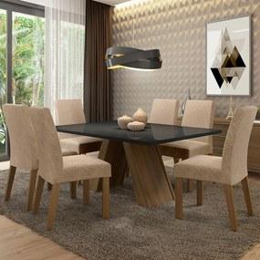 Conjunto Sala de Jantar Madesa Mirela Mesa Tampo de Vidro com 6 Cadeiras Rustic/Preto/Imperial Cor:Rustic/Preto/Imperial