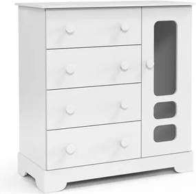 Cômoda Infantil 1 Porta 4 Gavetas Smart Branco Soft - Matic