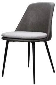 Cadeira Stevens Courino Cinza Assento Linho Cinza 50cm - 60601 Sun House