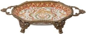 Bandeja Decorativa de Porcelana e Bronze Redonda III - Linha Oriental