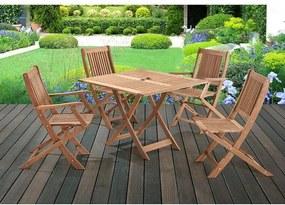 Mesa Quadrada com Cadeiras Dobráveis para Áreas Externas em Madeira Eucalipto - Maior Durabilidade - Canela
