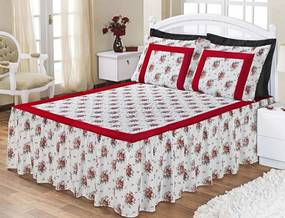 Colcha ( Travesseiro) Casal Vermelho Belize 5 peças Algodão e Poliéster - Ione Enxovais