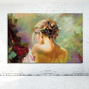 Tela Decorativa Estilo Pintura Mulher com as Costas Expostas - Tamanho: 60x90cm (A-L) Unico