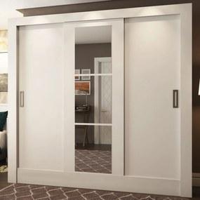 Guarda-Roupa Casal 3 Portas de Correr Versa com Espelho 40440 Branco - Pnr Móveis