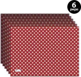 Jogo Americano Mdecore Natal Flocos de Neve 40x28 cm Vermelho6pçs