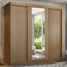 Guarda-Roupa Casal Madesa Reno 3 Portas de Correr com Espelho Rustic Cor:Rustic